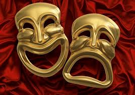 Two Brass Tragedy Comedy Masks
