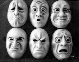 Six Masks Depicting Various Moods of Emotions