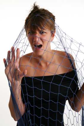woman  trapped in a net of post traumatic stress disorder ptsd
